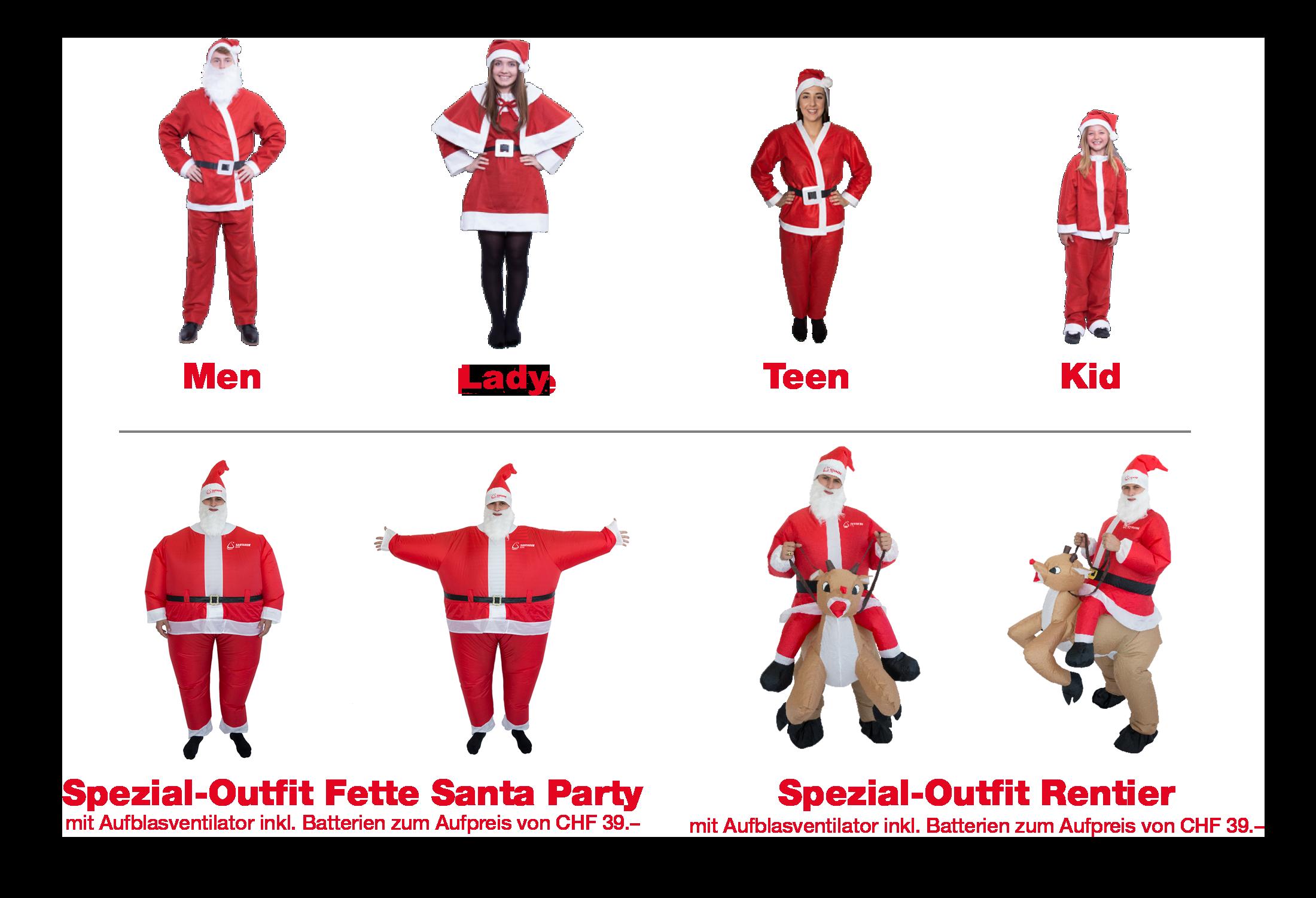 Santa Kostüme am Santa Run Bern